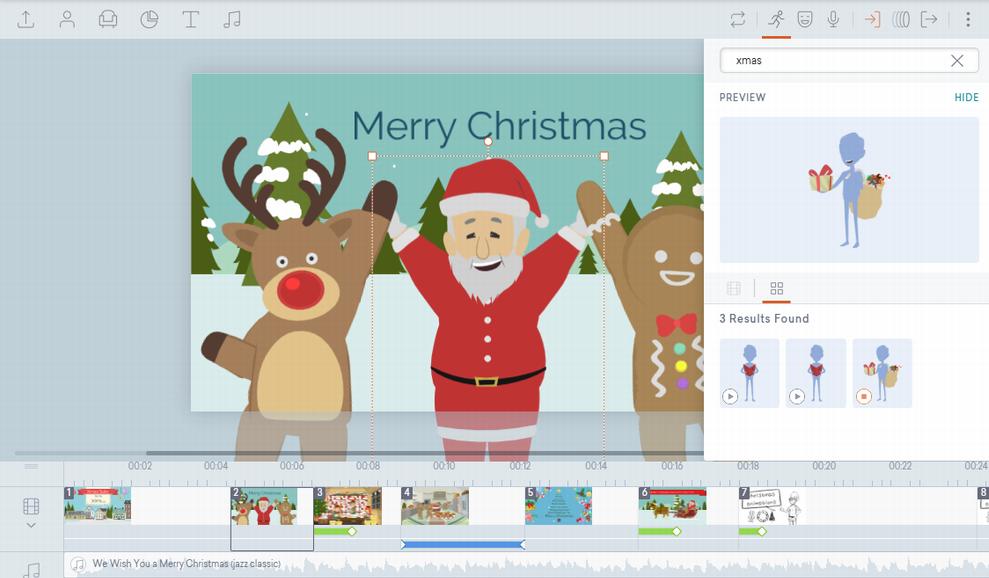 クリスマス用のアニメーション素材